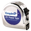 "Empire Power Tape Measure, 1"" x 25', Metal Case, Chrome, 1/16"" Graduation"