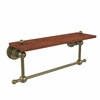 Allied Brass AP-1TB-16-IRW-ABR Astor Place Collection 16 Inch Solid IPE Ironwood Shelf with Integrated Towel Bar, Antique Brass