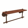 Allied Brass AP-1TB-16-IRW-ABZ Astor Place Collection 16 Inch Solid IPE Ironwood Shelf with Integrated Towel Bar, Antique Bronze