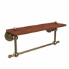 Allied Brass AP-1TB-16-IRW-BBR Astor Place Collection 16 Inch Solid IPE Ironwood Shelf with Integrated Towel Bar, Brushed Bronze