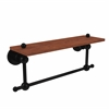 Allied Brass AP-1TB-16-IRW-BKM Astor Place Collection 16 Inch Solid IPE Ironwood Shelf with Integrated Towel Bar, Matte Black