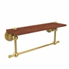 Allied Brass AP-1TB-16-IRW-PB Astor Place Collection 16 Inch Solid IPE Ironwood Shelf with Integrated Towel Bar, Polished Brass