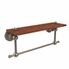 Allied Brass AP-1TB-16-IRW-PEW Astor Place Collection 16 Inch Solid IPE Ironwood Shelf with Integrated Towel Bar, Antique Pewter