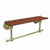 Allied Brass AP-1TB-16-IRW-SBR Astor Place Collection 16 Inch Solid IPE Ironwood Shelf with Integrated Towel Bar, Satin Brass