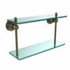 Allied Brass AP-2/16-ABR Astor Place Collection 16 Inch Two Tiered Glass Shelf, Antique Brass