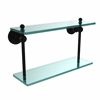 Allied Brass AP-2/16-BKM Astor Place Collection 16 Inch Two Tiered Glass Shelf, Matte Black