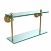Allied Brass AP-2/16-PB Astor Place Collection 16 Inch Two Tiered Glass Shelf, Polished Brass