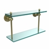 Allied Brass AP-2/16-SBR Astor Place Collection 16 Inch Two Tiered Glass Shelf, Satin Brass