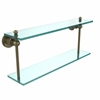 Allied Brass AP-2/22-ABR Astor Place Collection 22 Inch Two Tiered Glass Shelf, Antique Brass
