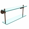 Allied Brass AP-2/22-ABZ Astor Place Collection 22 Inch Two Tiered Glass Shelf, Antique Bronze