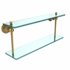 Allied Brass AP-2/22-UNL Astor Place Collection 22 Inch Two Tiered Glass Shelf, Unlacquered Brass