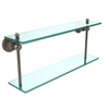 Allied Brass AP-2/22-PEW Astor Place Collection 22 Inch Two Tiered Glass Shelf, Antique Pewter