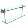 Allied Brass AP-2/22-PNI Astor Place Collection 22 Inch Two Tiered Glass Shelf, Polished Nickel