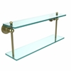 Allied Brass AP-2/22-SBR Astor Place Collection 22 Inch Two Tiered Glass Shelf, Satin Brass