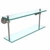 Allied Brass AP-2/22-SN Astor Place Collection 22 Inch Two Tiered Glass Shelf, Satin Nickel