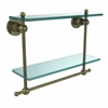 Allied Brass AP-2TB/16-ABR Astor Place Collection 16 Inch Two Tiered Glass Shelf with Integrated Towel Bar, Antique Brass