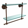Allied Brass AP-2TB/16-ABZ Astor Place Collection 16 Inch Two Tiered Glass Shelf with Integrated Towel Bar, Antique Bronze