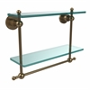 Allied Brass AP-2TB/16-BBR Astor Place Collection 16 Inch Two Tiered Glass Shelf with Integrated Towel Bar, Brushed Bronze