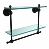 Allied Brass AP-2TB/16-BKM Astor Place Collection 16 Inch Two Tiered Glass Shelf with Integrated Towel Bar, Matte Black
