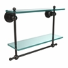 Allied Brass AP-2TB/16-ORB Astor Place Collection 16 Inch Two Tiered Glass Shelf with Integrated Towel Bar, Oil Rubbed Bronze