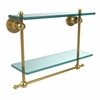 Allied Brass AP-2TB/16-UNL Astor Place Collection 16 Inch Two Tiered Glass Shelf with Integrated Towel Bar, Unlacquered Brass