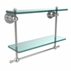Allied Brass AP-2TB/16-PC Astor Place Collection 16 Inch Two Tiered Glass Shelf with Integrated Towel Bar, Polished Chrome