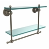 Allied Brass AP-2TB/16-PEW Astor Place Collection 16 Inch Two Tiered Glass Shelf with Integrated Towel Bar, Antique Pewter
