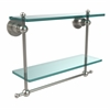 Allied Brass AP-2TB/16-PNI Astor Place Collection 16 Inch Two Tiered Glass Shelf with Integrated Towel Bar, Polished Nickel
