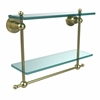 Allied Brass AP-2TB/16-SBR Astor Place Collection 16 Inch Two Tiered Glass Shelf with Integrated Towel Bar, Satin Brass