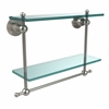 Allied Brass AP-2TB/16-SN Astor Place Collection 16 Inch Two Tiered Glass Shelf with Integrated Towel Bar, Satin Nickel