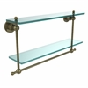 Allied Brass AP-2TB/22-ABR Astor Place Collection 22 Inch Two Tiered Glass Shelf with Integrated Towel Bar, Antique Brass
