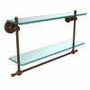 Allied Brass AP-2TB/22-ABZ Astor Place Collection 22 Inch Two Tiered Glass Shelf with Integrated Towel Bar, Antique Bronze