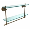 Allied Brass AP-2TB/22-BBR Astor Place Collection 22 Inch Two Tiered Glass Shelf with Integrated Towel Bar, Brushed Bronze