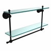 Allied Brass AP-2TB/22-BKM Astor Place Collection 22 Inch Two Tiered Glass Shelf with Integrated Towel Bar, Matte Black