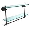 Allied Brass AP-2TB/22-ORB Astor Place Collection 22 Inch Two Tiered Glass Shelf with Integrated Towel Bar, Oil Rubbed Bronze