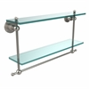 Allied Brass AP-2TB/22-SN Astor Place Collection 22 Inch Two Tiered Glass Shelf with Integrated Towel Bar, Satin Nickel