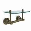 Allied Brass AP-GLT-24-ABR Astor Place Collection Two Post Toilet Tissue Holder with Glass Shelf, Antique Brass