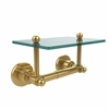 Allied Brass AP-GLT-24-PB Astor Place Collection Two Post Toilet Tissue Holder with Glass Shelf, Polished Brass