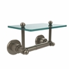Allied Brass AP-GLT-24-PEW Astor Place Collection Two Post Toilet Tissue Holder with Glass Shelf, Antique Pewter