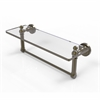 Allied Brass DT-1TB/16-ABR Dottingham 16 Inch  Glass Vanity Shelf  with Integrated Towel Bar, Antique Brass