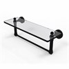 Allied Brass DT-1TB/16-BKM Dottingham 16 Inch  Glass Vanity Shelf  with Integrated Towel Bar, Matte Black
