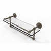 Allied Brass DT-1TB/16-GAL-ABR Dottingham 16 Inch Gallery Glass Shelf with Towel Bar, Antique Brass