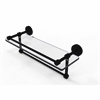 Allied Brass DT-1TB/16-GAL-BKM Dottingham 16 Inch Gallery Glass Shelf with Towel Bar, Matte Black
