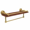 Allied Brass DT-1TB-16-GAL-IRW-UNL Dottingham Collection 16 Inch IPE Ironwood Shelf with Gallery Rail and Towel Bar, Unlacquered Brass