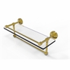 Allied Brass DT-1TB/16-GAL-UNL Dottingham 16 Inch Gallery Glass Shelf with Towel Bar, Unlacquered Brass