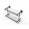 Allied Brass DT-2/16-GAL-ABR Dottingham 16 Inch Double Glass Shelf with Gallery Rail, Antique Brass