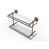 Allied Brass DT-2/16-GAL-BBR Dottingham 16 Inch Double Glass Shelf with Gallery Rail, Brushed Bronze