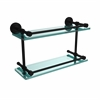 DT-2/16-GAL-BKM Dottingham 16 Inch Double Glass Shelf with Gallery Rail, Matte Black