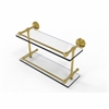 Allied Brass DT-2/16-GAL-UNL Dottingham 16 Inch Double Glass Shelf with Gallery Rail, Unlacquered Brass