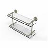 Allied Brass DT-2/16-GAL-PNI Dottingham 16 Inch Double Glass Shelf with Gallery Rail, Polished Nickel